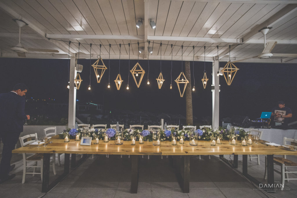 View of the decorated bridal table