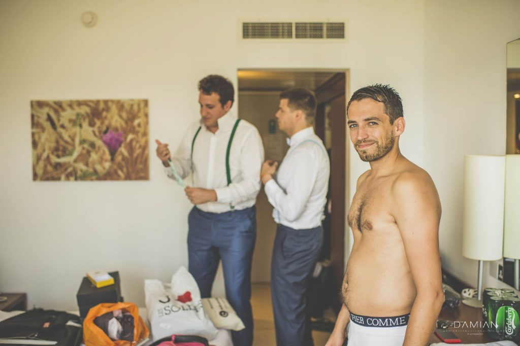 Groom and his friends